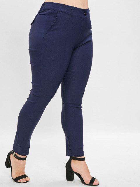 High Waist Plus Size Straight Pants - DEEP BLUE 4X