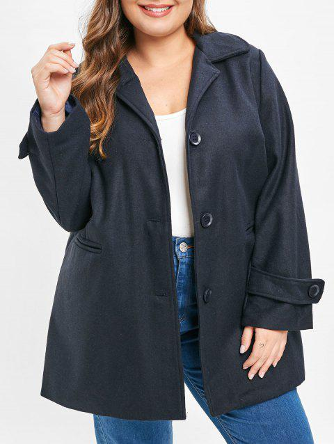 Plus Size Single Breasted Pockets Coat - CADETBLUE L