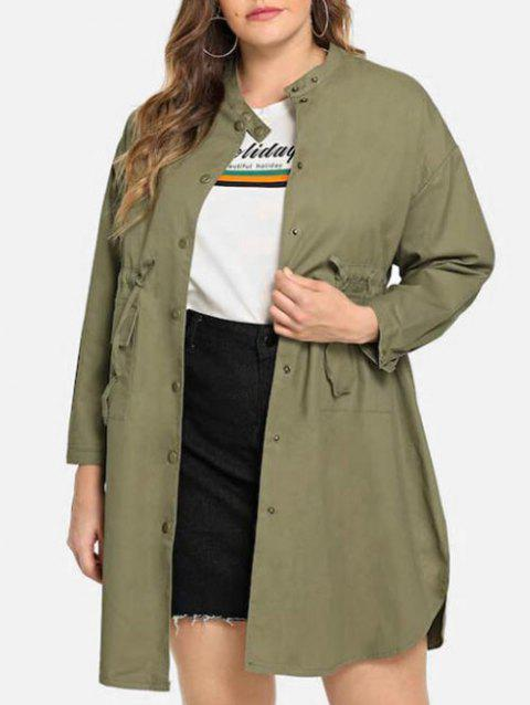 Plus Size Drawstring Button Up Coat - ARMY GREEN 1X
