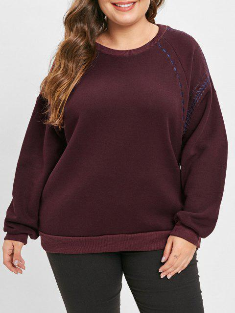 Plus Size Embroidered Fleece Pullover Sweatshirt - RED WINE L