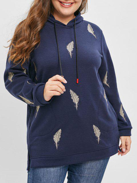 Plus Size Leaf Embroidered Slit Hoodie with Pockets - CADETBLUE L