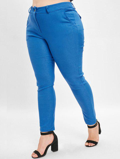 High Waist Plus Size Straight Pants - BLUE 3X