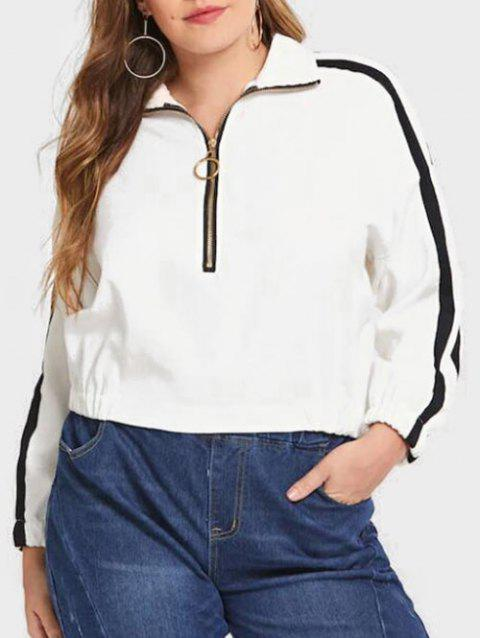 Plus Size Half Zip Contrast Trim Sweatshirt - MILK WHITE 2X