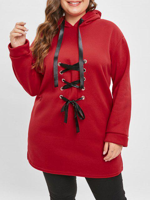 Plus Size Lace Up Front Hoodie - RED 1X