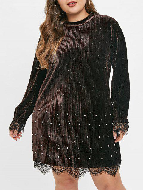 Plus Size Beaded Trim Shiny Velvet Dress - COFFEE 1X