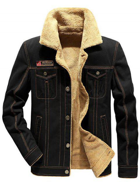 Applique Pockets Plush Casual Jacket - BLACK L