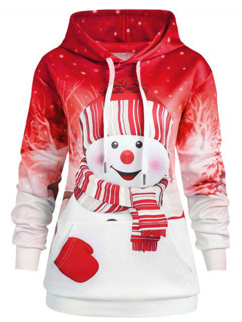 Christmas Kangaroo Pocket Plus Size Hoodie - RED 5X