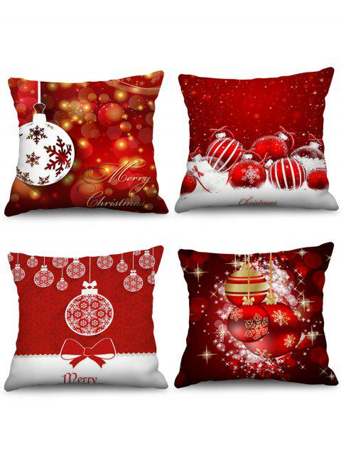 4PCS Christmas Snowflake Ball Printed Pillow Cover - LAVA RED W18 X L18 INCH