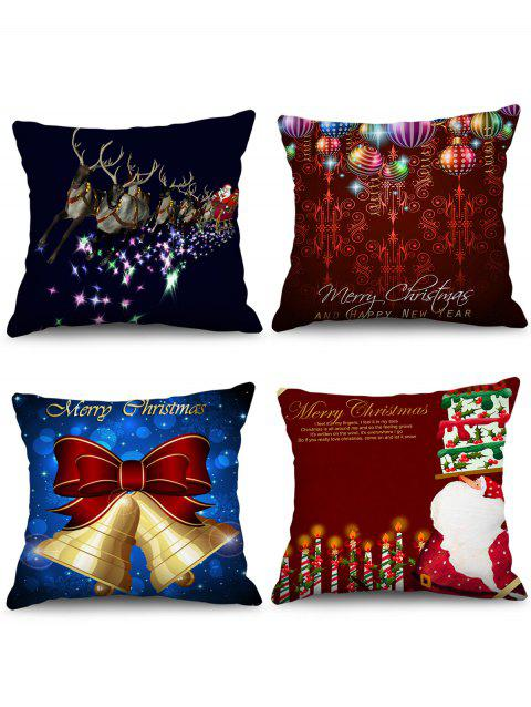 4PCS Father Christmas Bell Elk Printed Pillow Cover - multicolor W18 X L18 INCH
