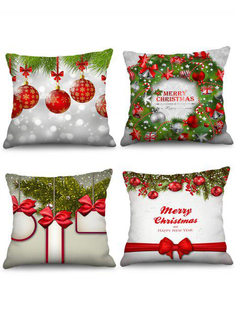 4PCS Merry Christmas Bowknot Printed Pillow Cover - multicolor W18 X L18 INCH