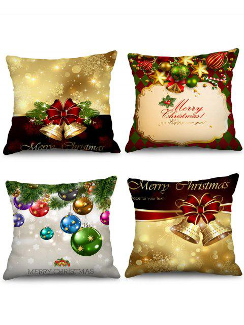 4PCS Merry Christmas Bell Ball Printed Pillow Cover