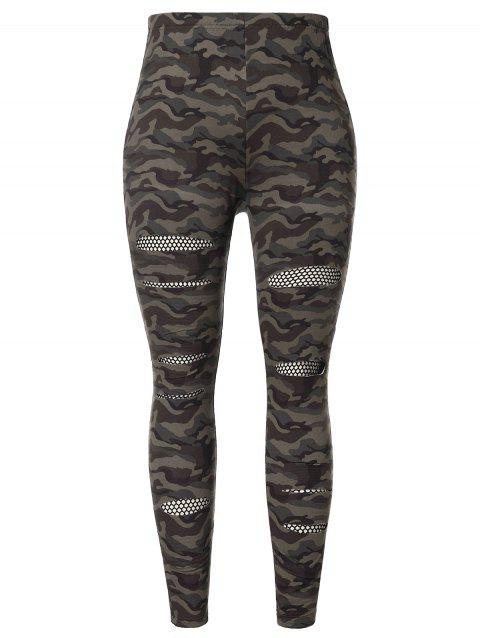 Plus Size Fishnet Insert Camouflage Print Pants - CAMOUFLAGE GREEN 2X