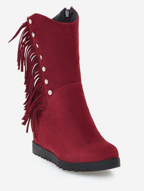 Plus Size Hidden Wedge Fringed Mid Calf Boots - RED WINE EU 40