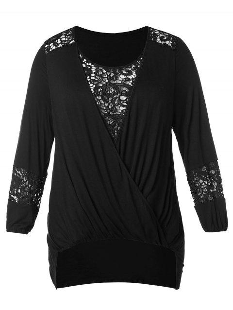 f2d635c9272 CUSTOM  2019 Plus Size Lace Insert Hollow Out Wrap T-shirt In BLACK ...