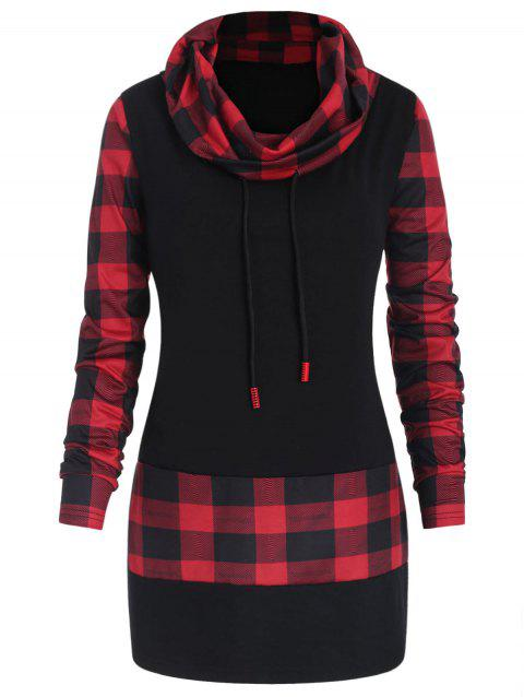 Plus Size Plaid Panel Heaps Collar Tee - multicolor 1X