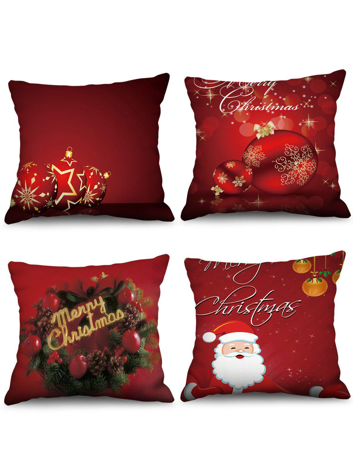4PCS Merry Christmas Ball Printed Pillow Cover - RED WINE W18 X L18 INCH