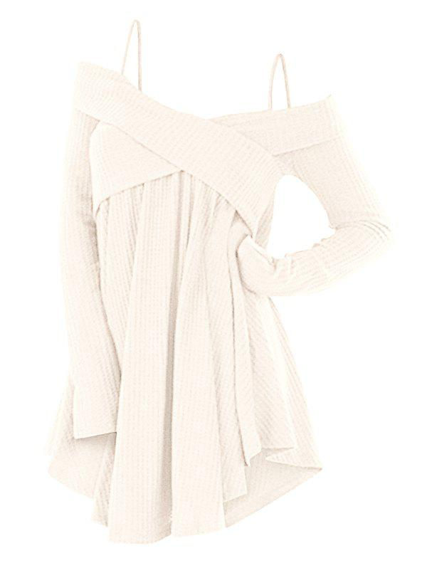 Cold Shoulder Crisscross Tunic Sweater - WHITE L