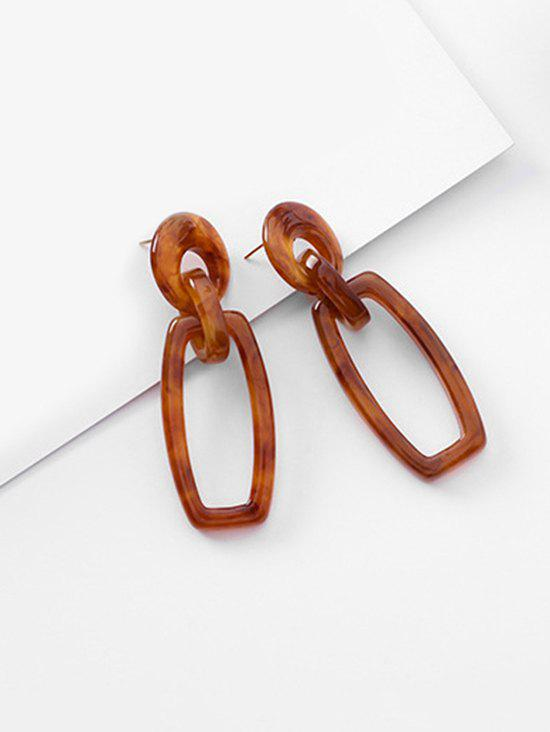 Geometric Hollow Out Design Earrings - BROWN