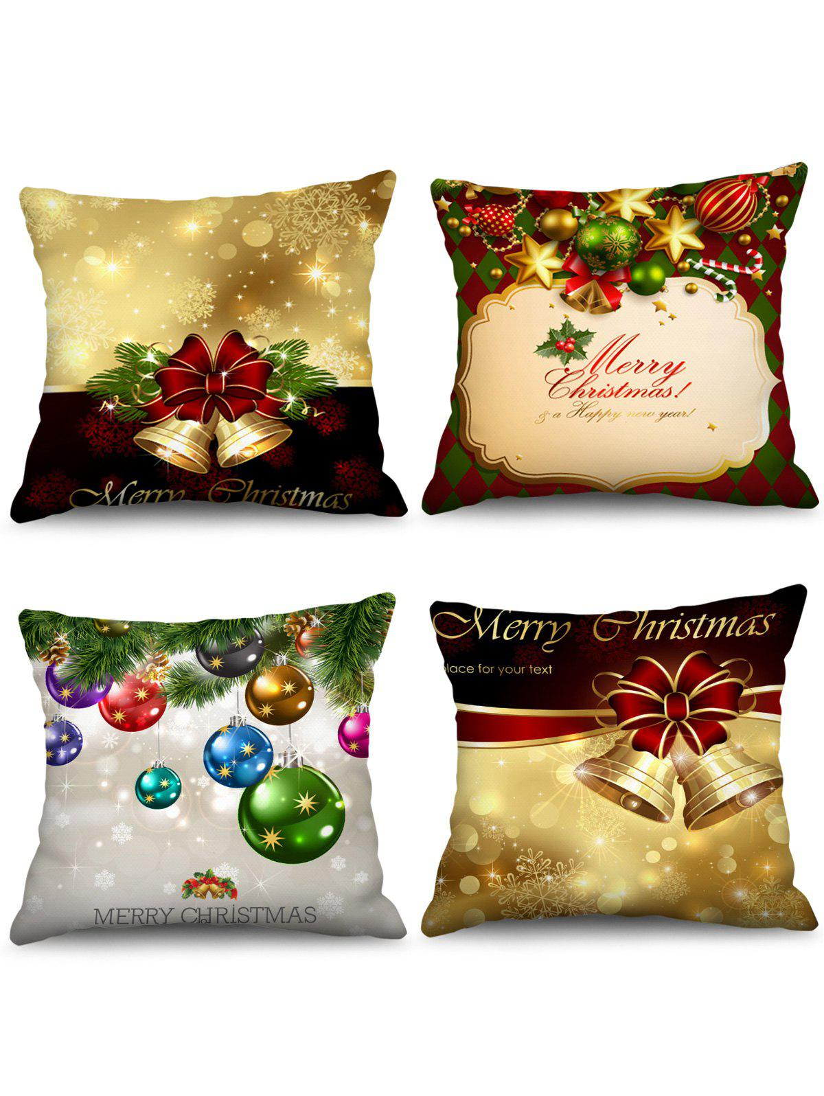 4PCS Merry Christmas Bell Ball Printed Pillow Cover - multicolor W18 X L18 INCH