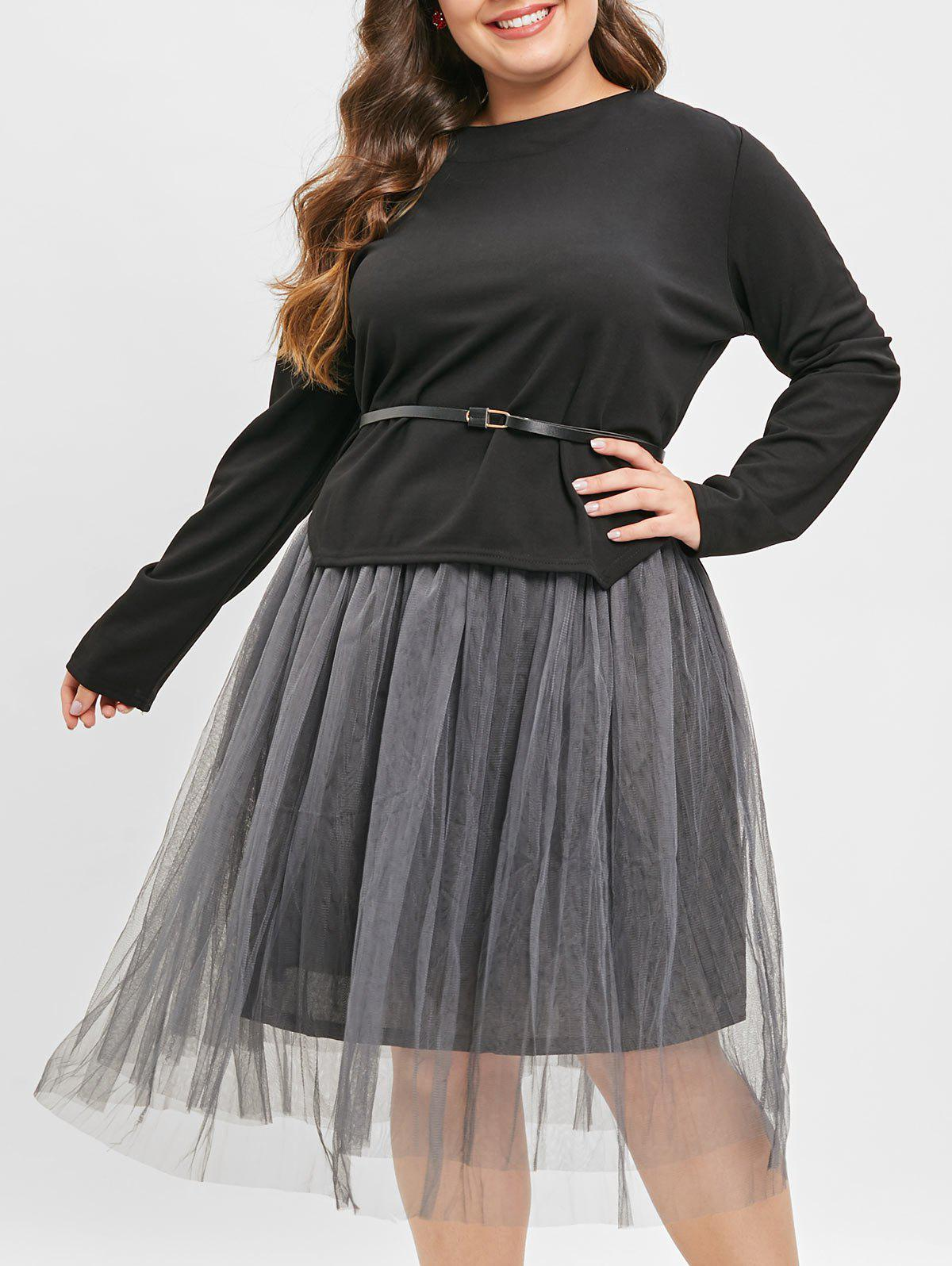 Belted High Low Top and Maxi Mesh Skirt - BLACK L