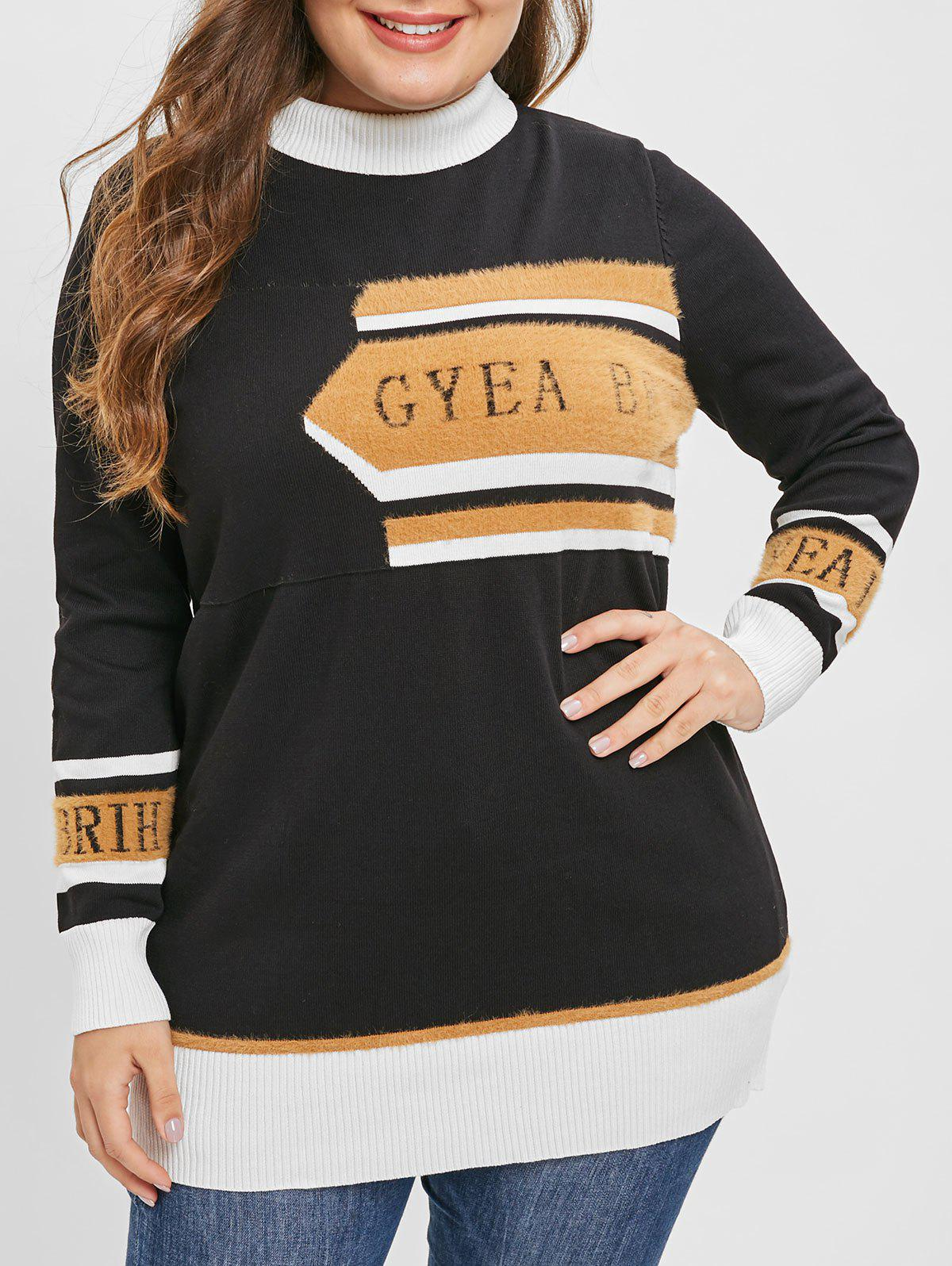 Plus Size Color Block Graphic Longline Sweater - BLACK L