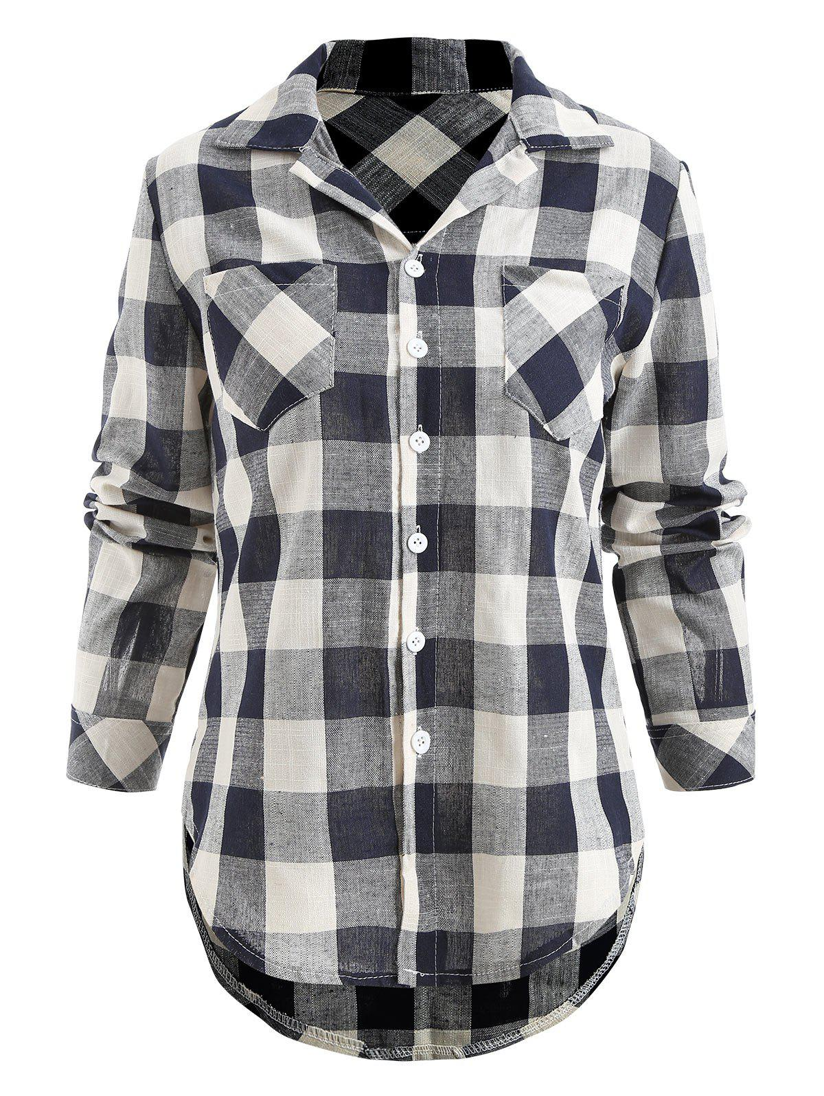 Front Pockets Button Up Checked Shirt - multicolor L