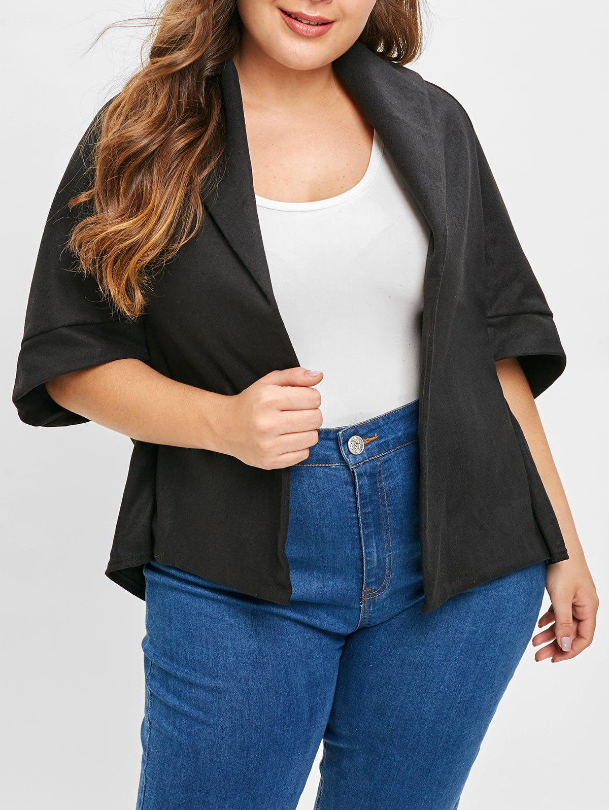 Plus Size High Low Open Front Coat - BLACK 1X