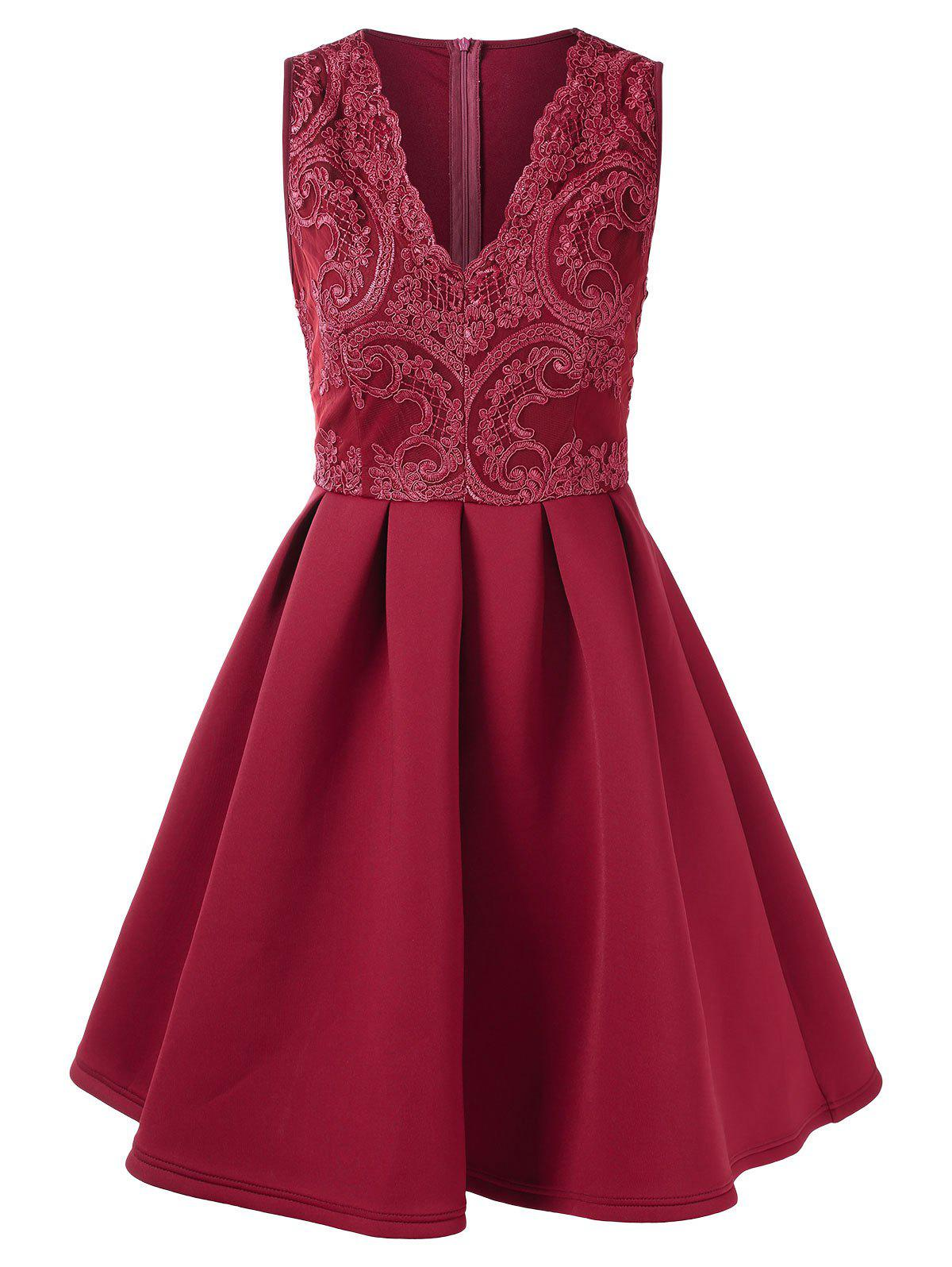 Lace Panel High Waisted Sleeveless Flare Dress - RED L