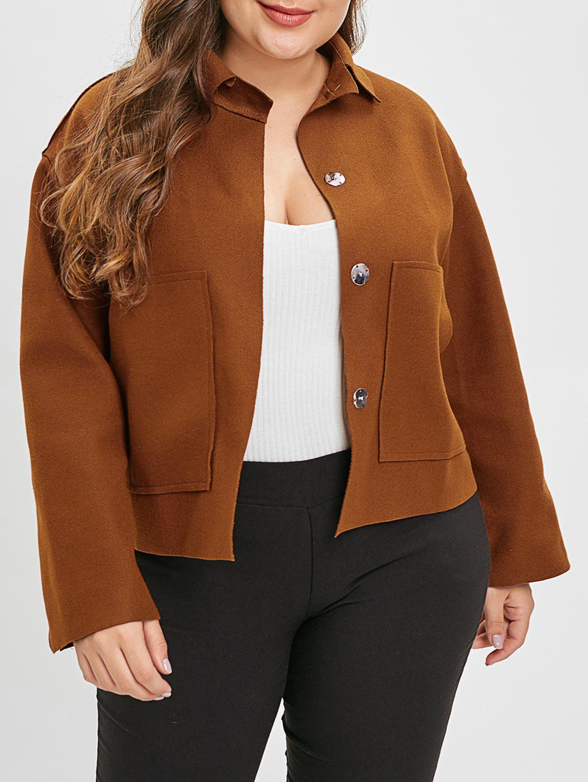 Plus Size Single Breasted Felt Shirt Jacket - CHESTNUT ONE SIZE