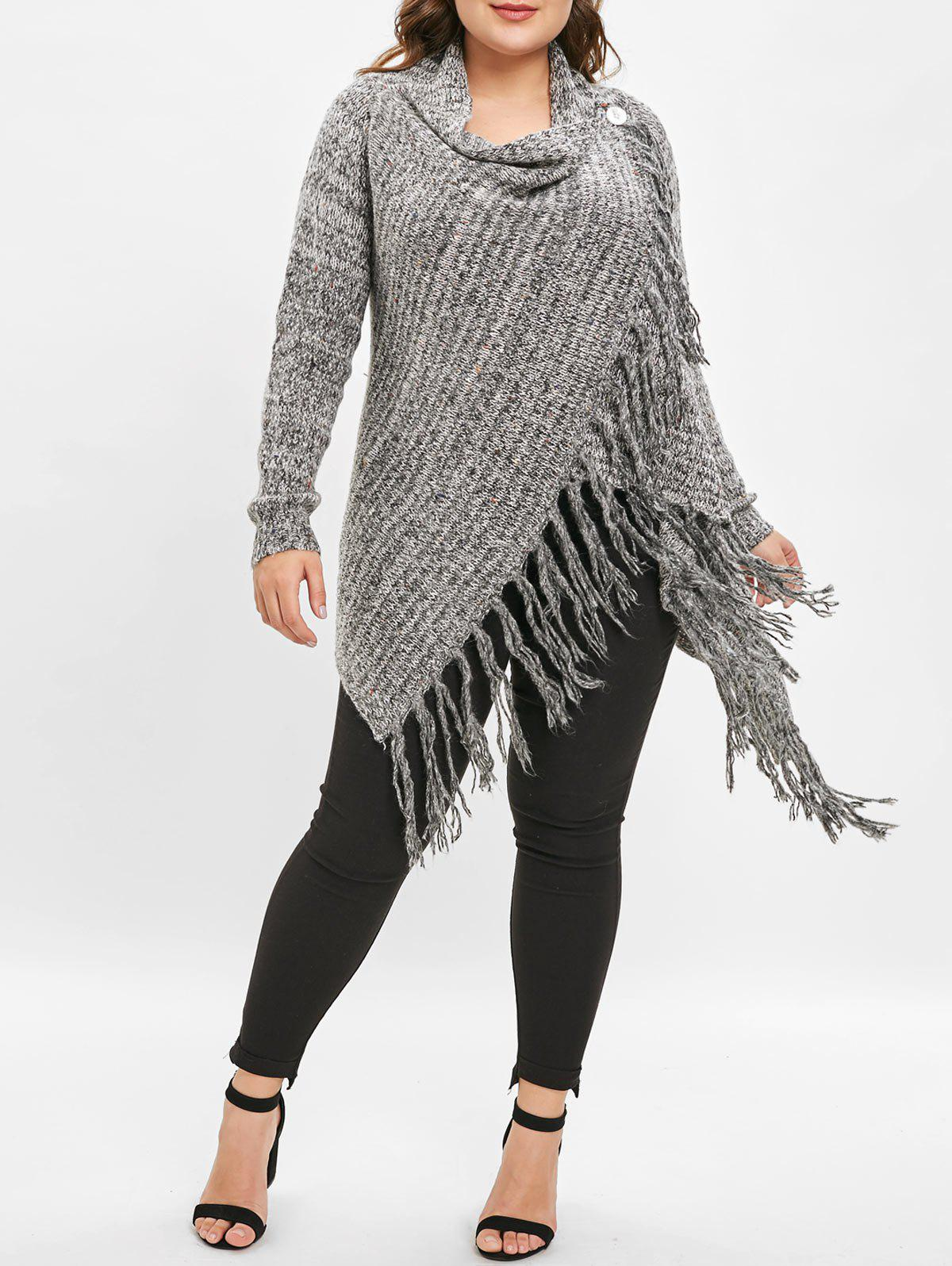 Plus Size Cowl Neck Tassel Longline Sweater - DARK GRAY 1X