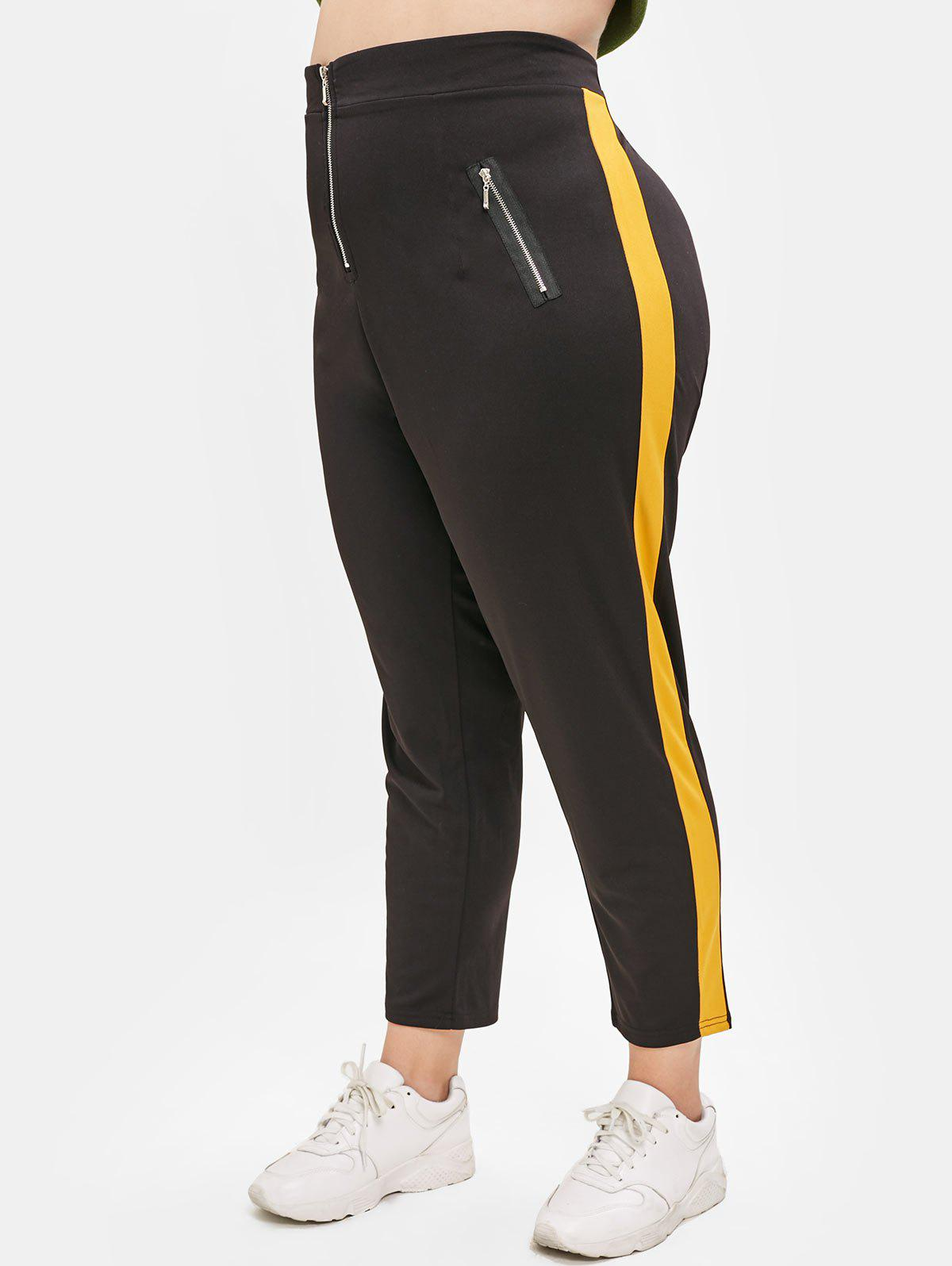 Plus Size Two Tone Pants with Zippers - BLACK 4X
