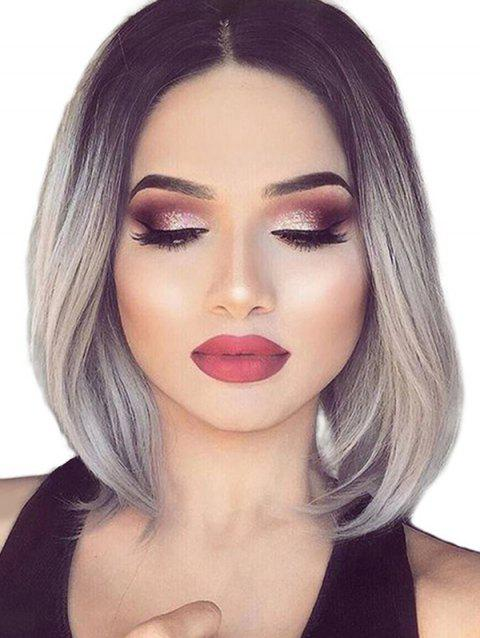 Center Parting Short Ombre Bob Straight Synthetic Wig - multicolor