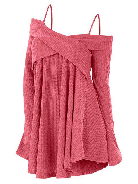 Cold Shoulder Crisscross Tunic Sweater - LIPSTICK PINK XL