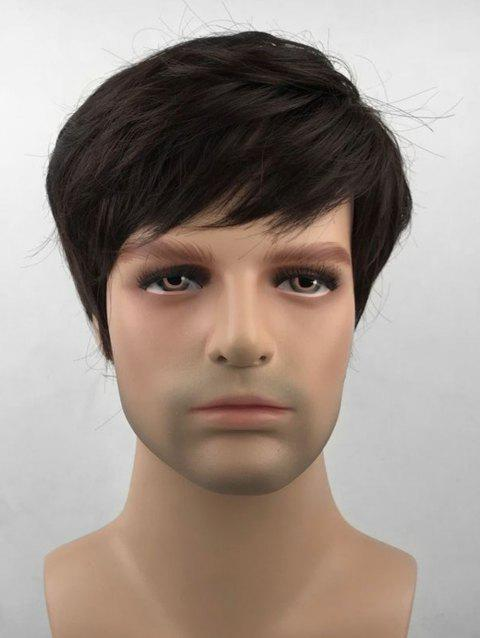 Oblique Bang Short Straight Synthetic Wig for Men - PUCE