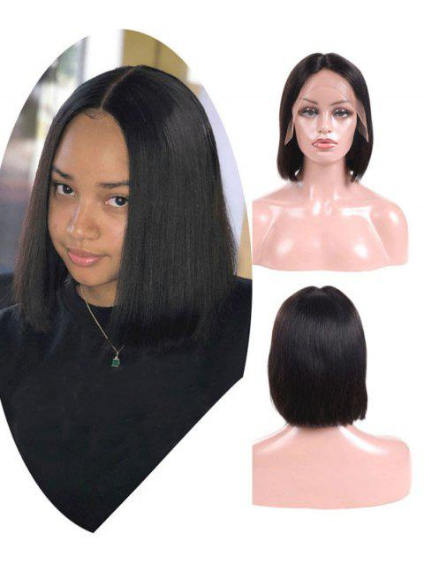 Brazilian Virgin Free Part Straight Human Hair Lace Front Wig - NATURAL BLACK 10INCH