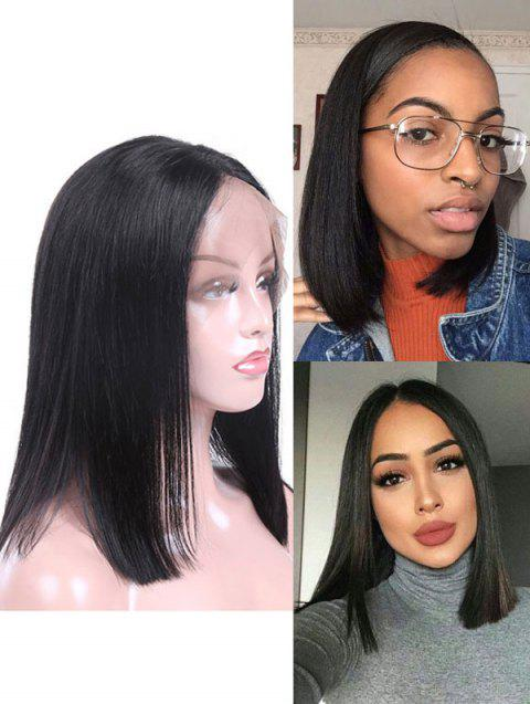 Real Human Hair Straight Indian Virgin Lace Front Wig - NATURAL BLACK 12INCH