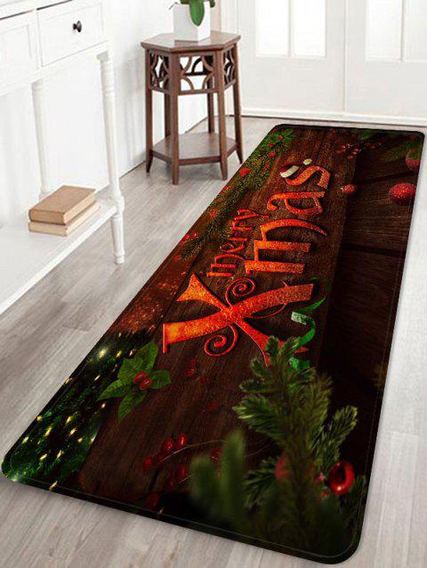 Merry X Christmas Printed Flannel Floor Mat - LAVA RED W24 X L71 INCH