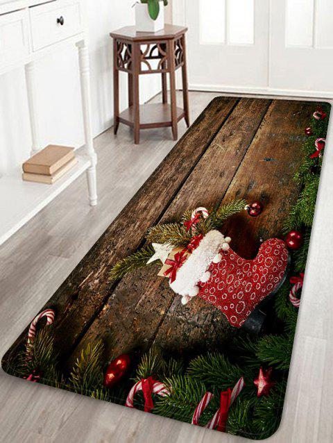 Christmas Stocking Wooden Printed Flannel Floor Mat - WOOD W16 X L47 INCH