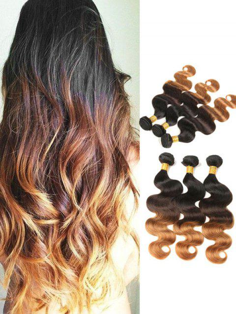 Brazilian Virgin Ombre Body Wave Real Human Hair Weaves with Closure - multicolor 20INCH X 20INCH X 20INCH X CLOSURE 18INCH