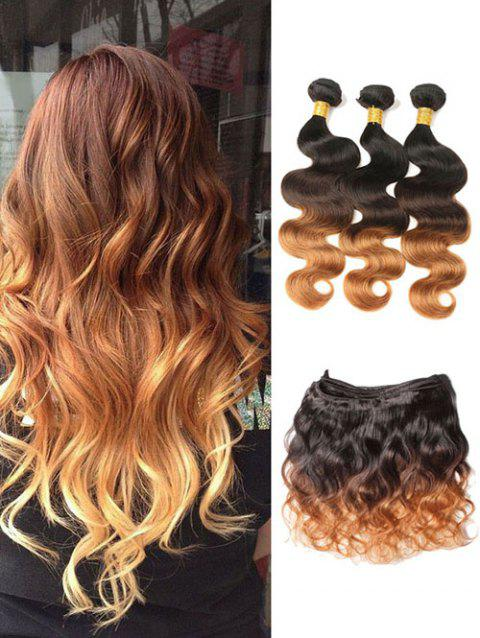 Real Human Hair Ombre Body Wave Malaysian Hair Weaves - multicolor 22INCH X 24INCH X 26INCH X CLOSURE 18INCH