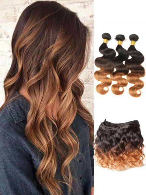 3Pcs Indian Virgin Ombre Body Wave Human Hair Weaves with Closure - multicolor 20INCH X 20INCH X 20INCH X CLOSURE 18INCH