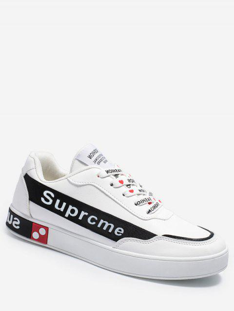 Letter Print Lace Up Flat Sneakers - WHITE EU 41