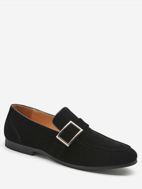 Buckle Detail Suede Loafers Shoes - BLACK EU 37