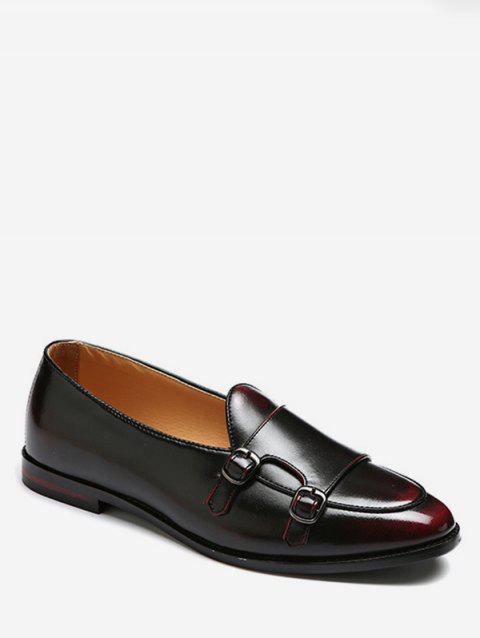 Double Monk Strap Vintage Loafer Shoes - RED WINE EU 48