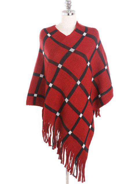 Winter Plaid Fringed Shawl Scarf - RED WINE