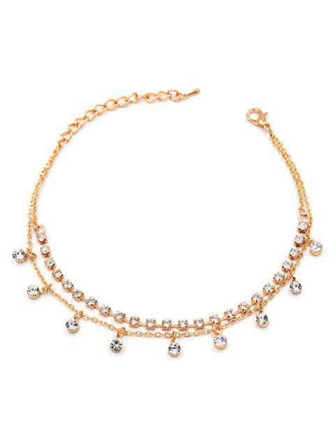 Simple Rhinestone Decor Chain Anklet - GOLD