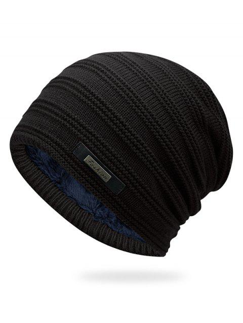 Winter Fur Lined Fluff Beanie - BLACK