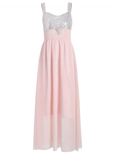 Sequins Chiffon Maxi Evening Dress - SAKURA PINK M