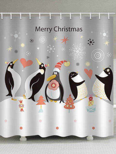 Christmas Penguin Print Waterproof Bathroom Shower Curtain - multicolor W71 X L79 INCH