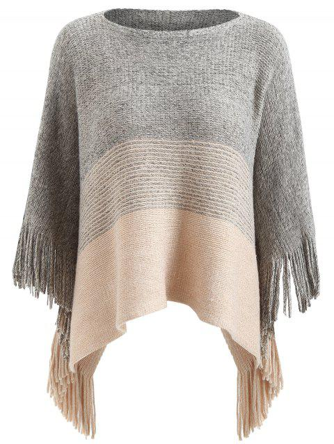 Contrast Color Cape Sweater with Tassels - LIGHT GRAY ONE SIZE